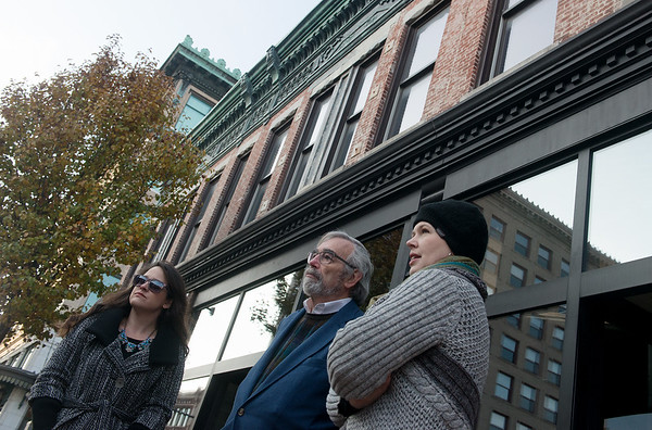 Globe/Roger Nomer<br /> (from left) Callie Hudson, executive director of the Downtown Joplin Alliance, Donovan Rypkema, principal of Place Economics, and Lori Haun, president of the board of directors of the Downtown Joplin Alliance, take a tour on Tuesday of downtown Joplin.