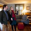 Globe/Roger Nomer<br /> Jason and Jill Sullivan talk about their living room during a tour on Tuesday.