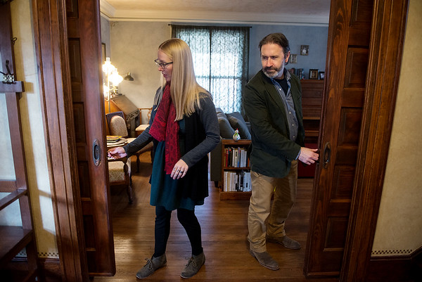 Globe/Roger Nomer<br /> Jill and Jason Sullivan talk about the pocket doors at their house on Sergeant during a tour on Tuesday.