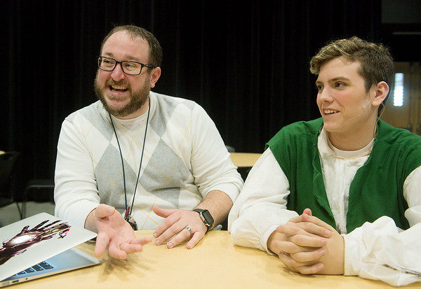 Globe/Roger Nomer<br /> Chris Young and Andrew Chesney, senior, talk about their trip to Japan during an interview on Thursday at Joplin High School.