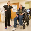 Globe/Roger Nomer<br /> Chrissy Naccarato, occupational therapist at Via Christi, talks with Scott Prince on Wednesday, Dec. 15, at the hospital.