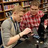 Globe/Roger Nomer<br /> Nicholas Paternoster and Jonathan Hicks, both sophomores, use their HALO time to assemble a 3D printer on Friday at Harrison High School.