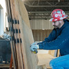 Globe/Roger Nomer<br /> Robert Taylor, with PCI, works on drywall on Thursday at the new Joplin Public Library.