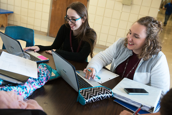 Globe/Roger Nomer HALO students Kaitlyn Bailey, left, and Camerson Whitmore, both sophomores, study on Friday at Harrison High School.