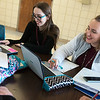 Globe/Roger Nomer<br /> HALO students Kaitlyn Bailey, left, and Camerson Whitmore, both sophomores, study on Friday at Harrison High School.
