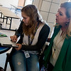 Globe/Roger Nomer<br /> Harrison Superintendent Melinda Moss talks with HALO student Katie Fowler, sophomore, on Friday at Harrison High School.