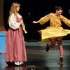"Globe/Roger Nomer<br /> Grace Roush, as the Sheriff of Nottingham's wife, left, and Jeannine Crawford, as Salome, rehearse a scene from ""Robin Hood"" on Monday at Joplin High School."
