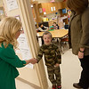Globe/Roger Nomer<br /> Harrison Superintendent Melinda Moss, left, and Woodland Heights Elementary Principal Debbie Wilson greet student Reed Rose on Friday at the school.