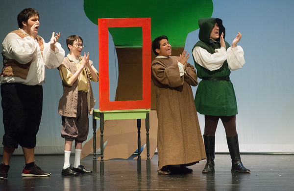"Globe/Roger Nomer<br /> Dakotah Hutchins, as Little John, Jakob Hobbs, as Will Scarlett, Angel Hernandez, as Friar Tuck, and Andrew Chesney, as Robin Hood, rehearse a scene from ""Robin Hood"" on Monday at Joplin High School."