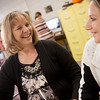 Globe/Roger Nomer<br /> Nicky Hastings talks with Nattali Morgan, senior, on Thursday, Dec. 16, at Baxter Springs High School.