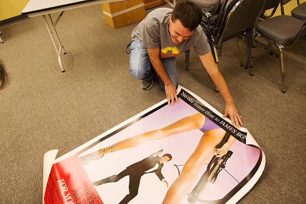 Globe/Roger Nomer<br /> Michael Wicklund talks about a James Bond poster up for auction.