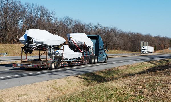 Globe/Roger Nomer<br /> Trucks travel I-44 on Wednesday afternoon.