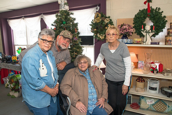 Globe/Anne Brown<br /> Playing a big role with the Seneca Food Pantry and Thrift Store are (from left) Linda Ginger, Russ Ginger, Martha Graham (seated) and Doris Mead..