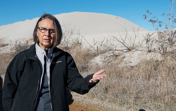 Globe/Roger Nomer<br /> Rebecca Jim talks about the clean up of chat piles near Quapaw during an interview on Tuesday.