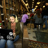 Pittsburg State University student Savannah Reynolds works on her studies on Friday at The Root Coffehouse and Creperie in Pittsburg. Reynolds, who has an hour-long commute each day from Hume, said she is happy to have a place to relax and study before going to class.<br /> Globe | Laurie Sisk