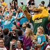 Missouri Southern mascot Roary the Lion leads Columbia Elementary students in a cheer as they take in the MSSU men's basketball game against Upper Iowa on Wednesday at MSSU.<br /> Globe | Laurie Sisk