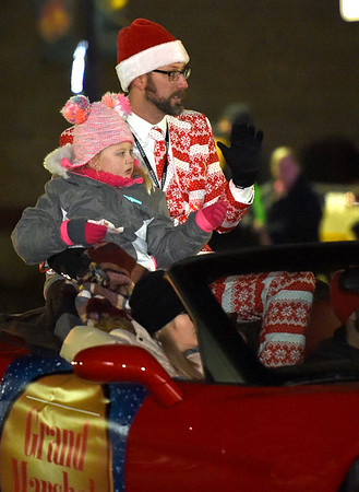 Grand Marshall Rob Thomas helps kick off the 2018 Christmas Parade on Tuesday night in Downtown Joplin.<br /> Globe | Laurie Sisk