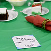 Christmas greeting placed on tables at the Salvation Army remind guests that someone is thinking of them on Christmas. Thirteen-year-old Charleigh Mueller and her sister, Curyaunna Mueller, 11, created about 225 of the cards for diners and also volunteered waiting tables at the dinner.<br /> Globe | Laurie Sisk