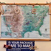 Push pins designate places where cards were sent for stamps to the Noel Post Office. Postmaster Don Spiares said on Thursday he hopes to have cards from each of the 50 states before he retires.<br /> Globe | Laurie SIsk