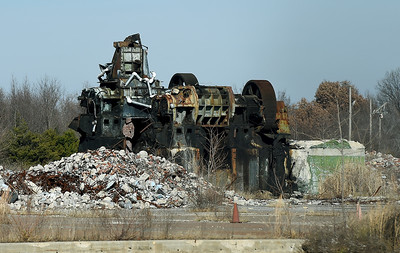 Old equipment from the former B.F. Goodrich company in Miami lays in rubble at the plant, which operated for about 40 years. Globe | Laurie SIsk