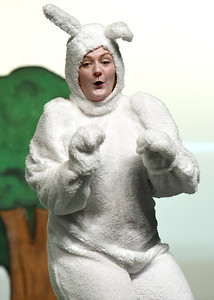 Jalyn Hunt Zuckerberg perfects her role as the White Rabbit during  Joplin High School's rehearsal for its annual Christmas children's show on Tuesday night at JHS. Globe | Laurie Sisk