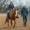 Sami Bayless rides her horse Dunny alongside Cameron Whetten on Wednesday in Lamar.<br /> Globe | Roger Nomer