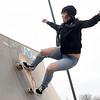 Frigid temperatures can't keep Lindsey Linny from working on her skating skills on Friday afternoon at the Ewert Skate Park.<br /> Globe | Laurie Sisk