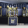 Large trophies that await the winners in each division grace the lobby of Neosho High School during the 2018 Neosho Holiday Classic on Thursday afternoon at NHS. <br /> Globe | Laurie Sisk