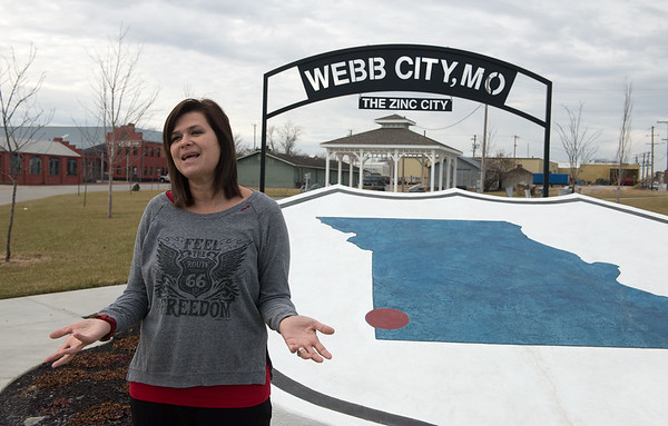 Erin Turner, Webb City economic and community coordinator, talks about Cardinal Route 66 Memorial Park on Tuesday.<br /> Globe | Roger Nomer