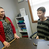 Ali Smith, prevention education specialist for Safehouse in Pittsburg, right, talks about her nomination of Brooke Powell, director of Safehouse, for the SEK NOW Wonder Woman award on Tuesday.<br /> Globe | Roger Nomer