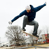 Christopher Pinkston braves chilly temperatures as he works on his technique on Thursday at the Ewert Park skate park.<br /> Globe | Laurie Sisk