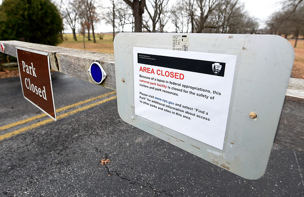 The gates at George Washington Carver National Monument remai closed on Wednesday during the federal government shutdown.<br /> Globe | Laurie Sisk