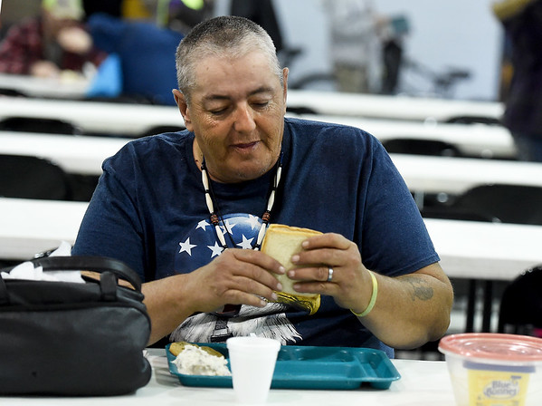 Robert Troester prepares to eat lunch at the Salvation Army on Wednesday. Funds from the annual kettle drive help feed about 200 people a day at the Salvation Army.<br /> Globe   Laurie Sisk