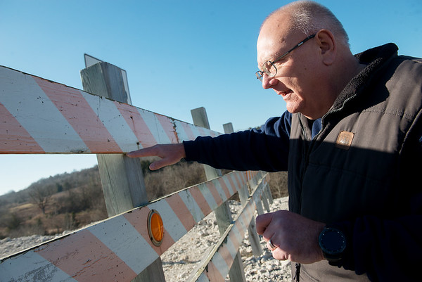 Gregg Sweeten, Pineville mayor, talks about the completion of the bypass on the Missouri side on Monday.<br /> Globe | Roger Nomer