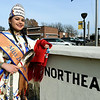Northeastern Oklahoma A&M student Ravyn Whitebird stands near the entrance of NEO in traditional regalia on Tuesday. Whitebird has twice been selected as Miss Indian NEO.<br /> Globe | Laurie SIsk