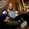 Two-year-old Theo Evans enjoys a hot cocoa during a mother/son date day with his mom, Alicia Evans on Friday at The Root Coffehouse and Creperie in Pittsburg. The coffeehouse is part of the Block 22 project.<br /> Globe | Laurie Sisk