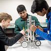 Drew Goodhope, Thomas Jefferson sophomore, Schayaan Anis, freshman, and AJ Jenkins, sophomore, work on a robotics project at Thomas Jefferson INdependent Day School on Monday.<br /> Globe | Roger Nomer