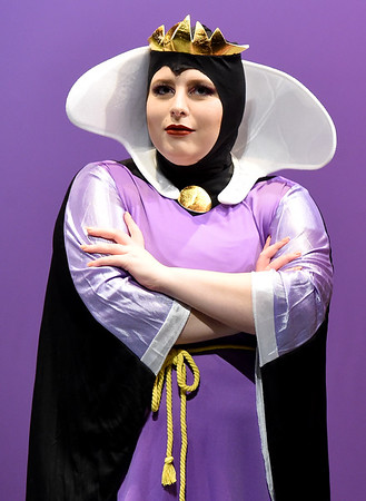 "Carly Cascone portrays the Evil Queen during rehearsals for the upcoming Joplin High School production of ""Snow White and the Missing Dwarfs"" on Tuesday at JHS.<br /> Globe 