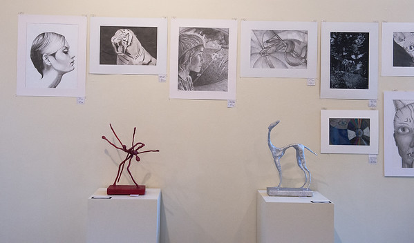 Sketches by Neosho High School students and sculptures by Mt. Vernon High School students are part of the K-12 Art Show on display now at Missouri Southern State University's Spiva Art Gallery. The exhibit is made of student art work from area schools. A reception for the exhibit will take place on Saturday, Jan. 11.<br /> Globe | Roger Nomer