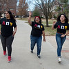 (from left) Samantha Ruvalcaba, a Pittsburg State University junior from Wichita, Kan., Natalie Vasquez, a PSU junior from Kansas City, Kan., and Cassandra Roque, a PSU senior from Westwood, Kan., walk on campus on Thursday. The students are the first members of the new Lambda Pi Upsilon Sorority at PSU.<br /> Globe | Roger Nomer