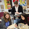 (from left) Joplin High School Constitution Team members Joy White, Hayden Kendall and Nian Wheeler, seniors, work on planning a trip to Washington D.C. on Friday at JHS.<br /> Globe | Roger Nomer