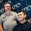 Steve Ratliff (left), Missouri admission representative at Northwestern Ohio University, talks about Jackson Carter's scholarship awards on Tuesday at Franklin Tech.<br /> Globe | Roger Nomer