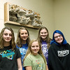 (from left)  Abygail Clapp, Dacey Brown, Addison Campbell, Margaret Tanner and Keran Bentley, seventh graders at Wyandotte Middle School, won an award for their upcycled sculpture.<br /> Globe | Roger Nomer