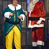 "Buddy the Elf (Jeff Phillips) shares the fear he may be human with Santa (Caleb Hilsenbeck) during the final dress rehearsal for the Ozark Christian College production of ""Elf: The Musical"" on Wednesday night at OCC.<br /> Globe 
