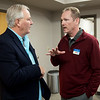 John Hyman (left), realtor with Buttram Commercial Real Estate, talks with Tony Robyn, director of the MOKAN Partnership, on Friday at the Joplin Area Chamber of Commerce.<br /> Globe | Roger Nomer
