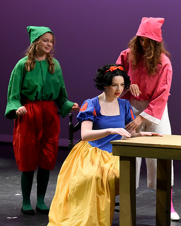 "From the left: Ashlynn Hardesty (dwarf,) Elise Leek (Snow White) and Kenzi Badr (dwarf) rehearse their roles for the upcoming Joplin High School production of ""Snow White and the Missing Dwarfs"" on Tuesday at JHS. Globe 