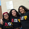 (from left) Natalie Vasquez, a Pittsburg State University junior from Kansas City, Kan., Cassandra Roque, a PSU senior from Westwood, Kan., and Samantha Ruvalcaba, a PSU junior from Wichita, Kan., are members of the Lambda Pi Upsilon Sorority. The students are the first members of the new sorority on campus.<br /> Globe | Roger Nomer