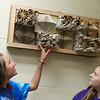 Dacey Brown, left, and Margaret Tanner, seventh graders at Wyandotte Middle School, talk about an upcycled sculpture that won first place in an Oklahoma contest on Tuesday at the school.<br /> Globe | Roger Nomer