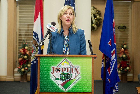 Melinda Moss, superintendent of Joplin schools, talks about the district's plans to build a school at Dover Hill Park on Monday at Joplin City Hall.<br /> Globe | Roger Nomer