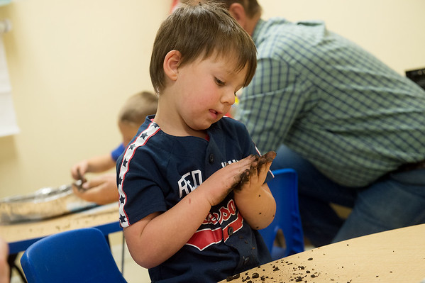 Jensen Holle, 4, makes a seed ball for the new Mammoth Prairie Park on Friday at the Footprints and Friends Preschool.<br /> Globe | Roger Nomer